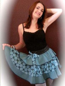 Polka Dots & Teal, Modeled by Elena Triela