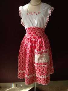 Red Eyelet Apron front