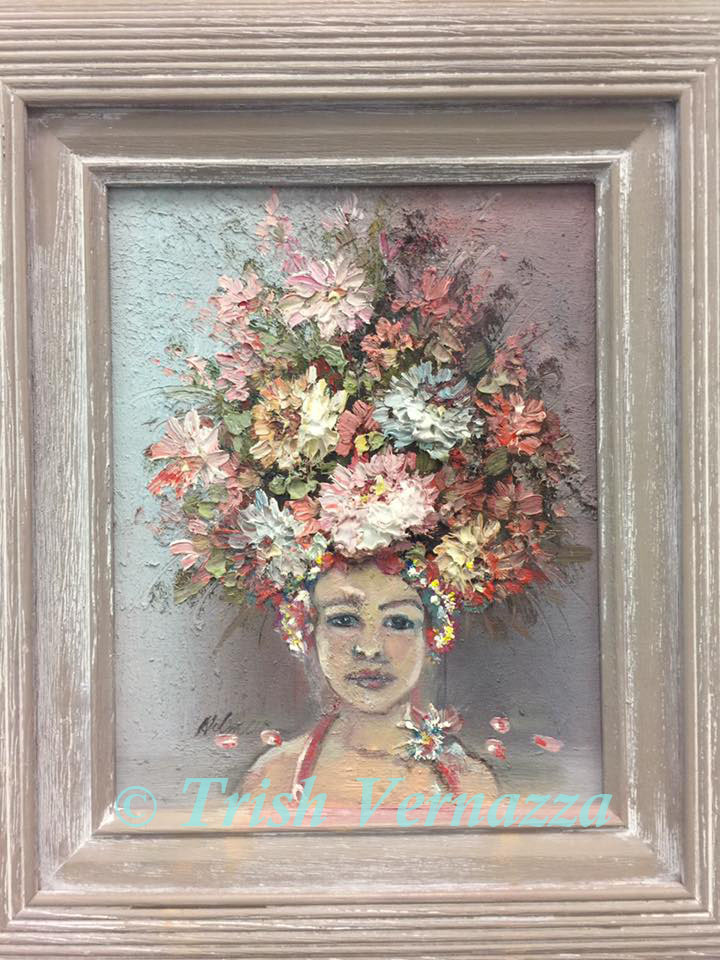Thrift store painting of flower girl in a bathing suit cap watermark